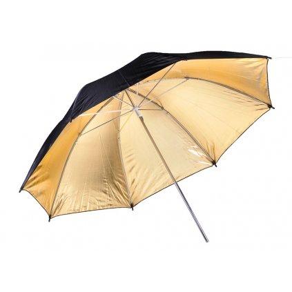 Reflexný dáždnik zlatý / biely / čierny 109 cm BRESSER SM-10