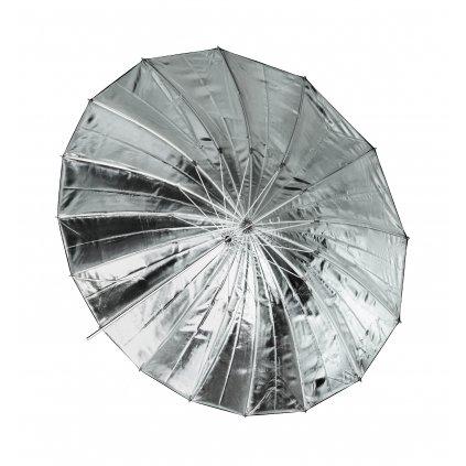 Reflexný dáždnik Jumbo strieborný / čierny 162 cm BRESSER SM-09