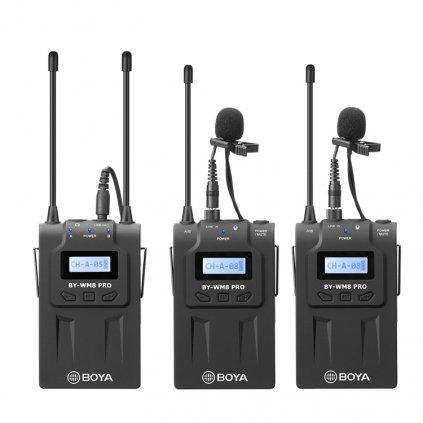 Sada Boya BY-WM8 Pro K2 UHF - 2x vysielač, prijímač, 2x mikrofón s klipom