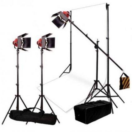 Set osvetlenia a fotopozadia s 3 stmievateľnými halogénovými svetlami SG-800D