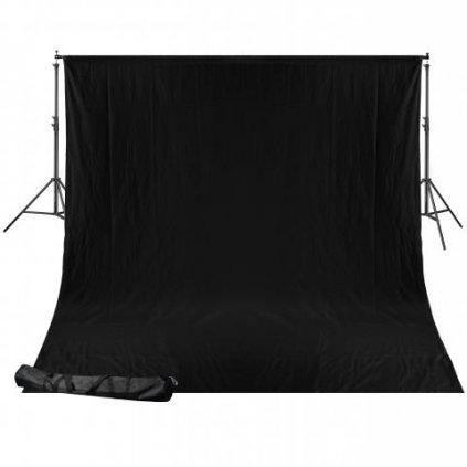 Systém pre fotopozadie BRESSER BR-D24 + čierne textilné pozadie 2,5 x 3 m