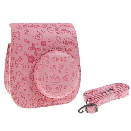 Puzdro pre fotoaparáty INSTAX Mini 8 9 - ružové s kresbami
