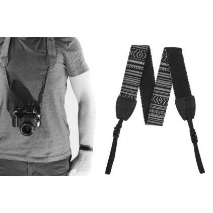 Fotografický popruh pre fotoaparát 80 - 120 cm (bielo-čierny)