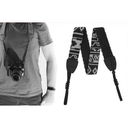 Fotografický popruh pre fotoaparát 80 - 120 cm (čieno-biely)