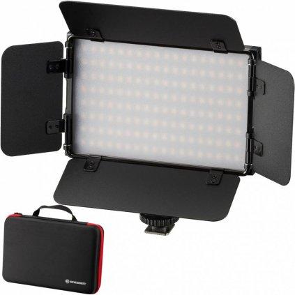 Dvojfarebné kamerové LED svetlo s klapkami, akumulátorom a puzdrom BRESSER PT PRO 15B-II