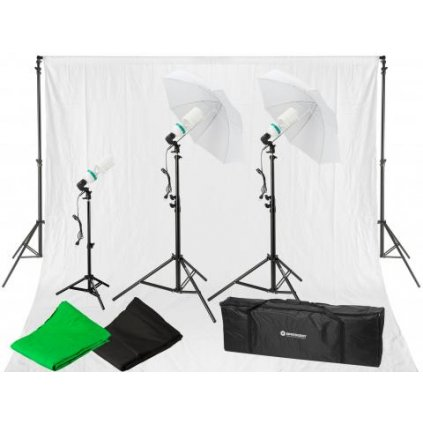 Set trvalých svetiel 900 W s 3 fotopozadiami BRESSER BR-2109