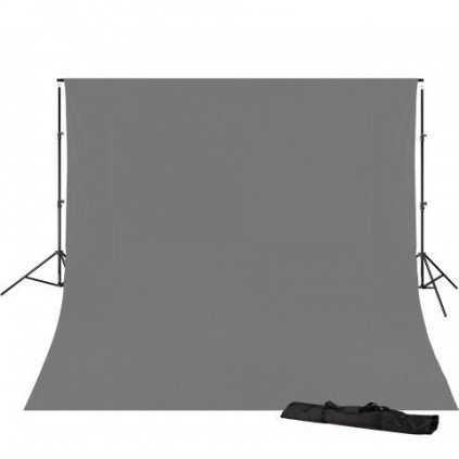Konštrukcia pozadia 240 x 300 cm + šedé pozadie 3 x 6 m BRESSER BR-D23