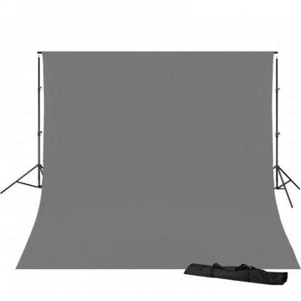 Konštrukcia pozadia 240 x 300 cm + šedé pozadie 3 x 4 m BRESSER BR-D23