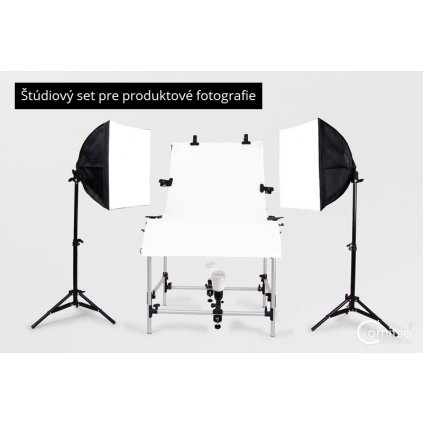 Štúdiový set pre produktové fotografie - fotostôl, 2x statív, 2x softbox, 2x držiak na žiarovku a 4x záblesková žiarovka s fotobunkou