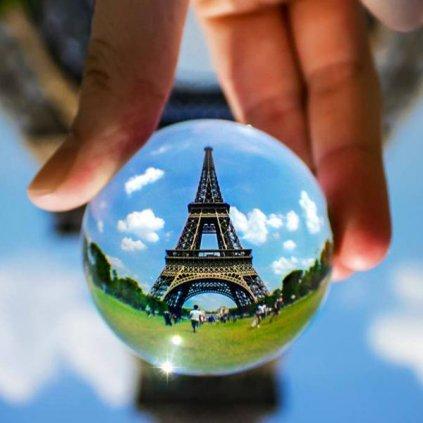 Krišťáľová foto guľa so stojanom, 15 cm