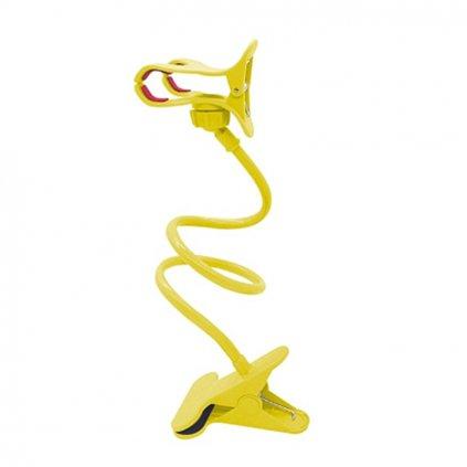 Flexibilný držiak na telefón s uchytávacím klipom - žltý