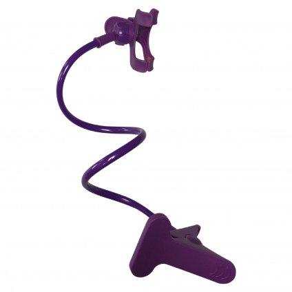 Flexibilný držiak na telefón s uchytávacím klipom - fialový