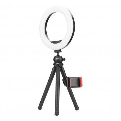 Kruhové LED svetlo (statív, guľová hlava, držiak na mobil) e