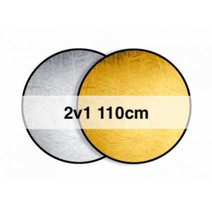 Okrúhla odrazová doska, skladacia zlatá / strieborná 110 cm