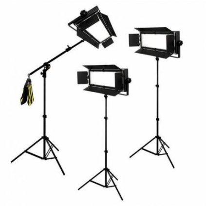 Štúdiový set foto-video LED 3x LG-1200 72W/11.800LUX + 3x statív BRESSER