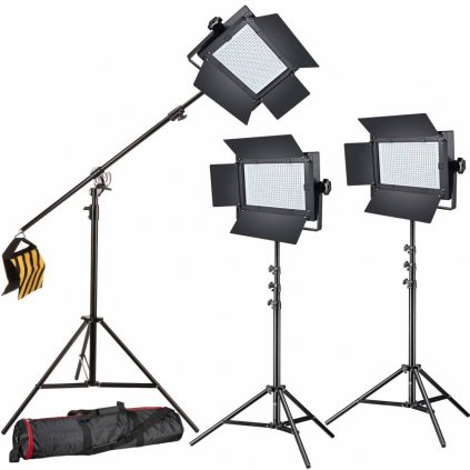 Štúdiový set foto-video LED 3x LG-600 38W/5600LUX + 3x Statív BRESSER