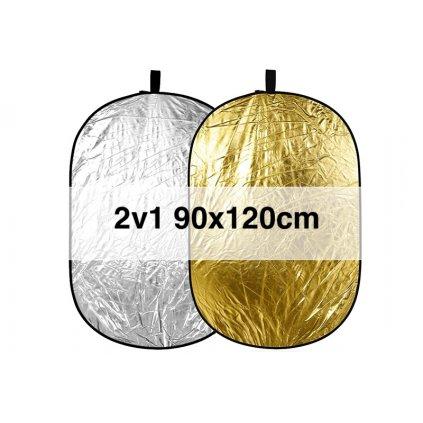 Skladacia odrazová doska zlatá / strieborná 90x120cm