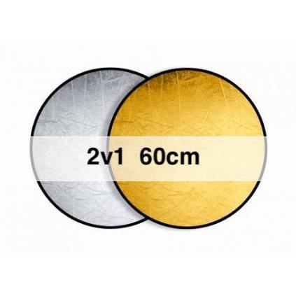 Okrúhla odrazová doska, skladacia zlatá / strieborná 60 cm
