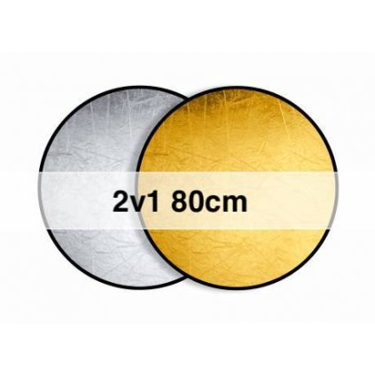 Okrúhla odrazová doska, skladacia zlatá / strieborná 80 cm