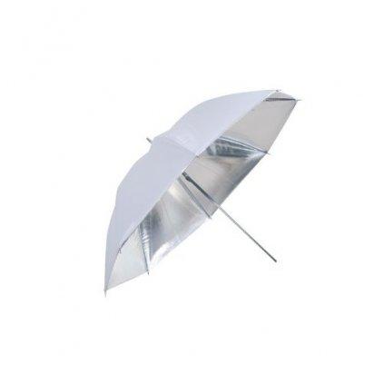 Štúdiový dáždnik strieborno/biely 110cm