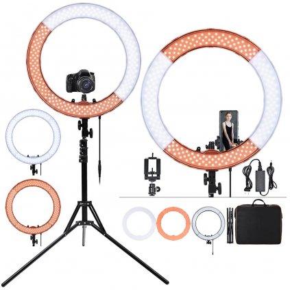 Kruhové LED svetlo 50W so stmievačom + 295cm masívny statív