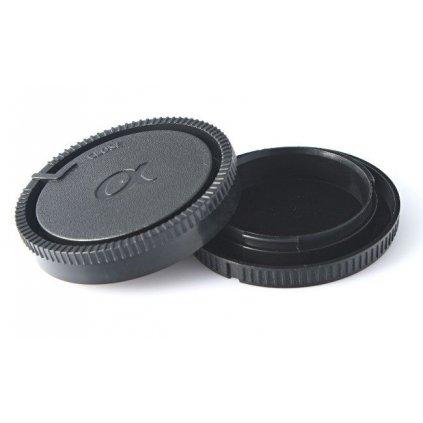 Sada krytiek pre fotoaparáty Sony Alpha - zadná krytka pre objektív a krytka pre telo fotoaparátu