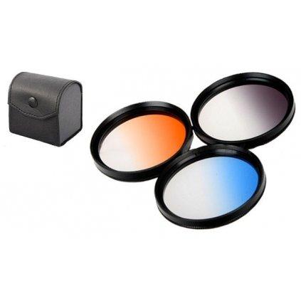 3 prechodové filtre 67 mm + puzdro
