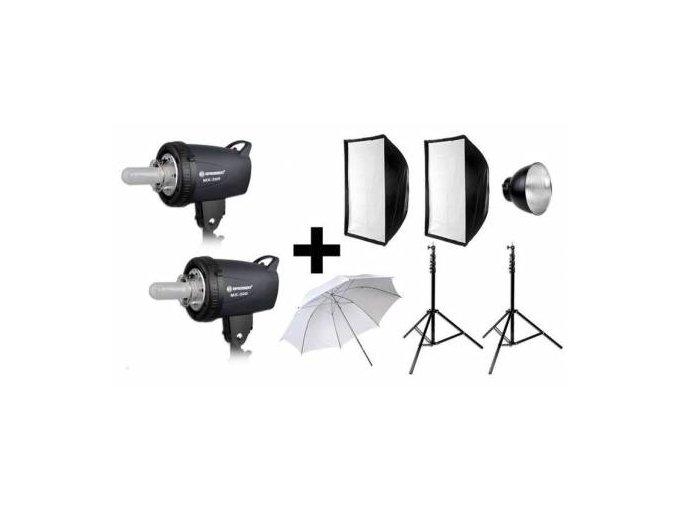 Set štúdiových bleskov BRESSER: 2X MX-500 + akčný balík 4