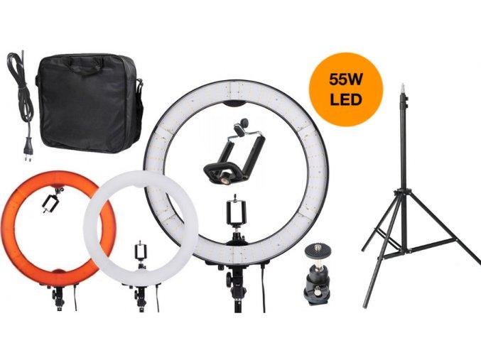 Kruhové LED svetlo 75W so stmievačom + masívny statív 295cm