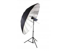 Reflexný dáždnik Jumbo strieborno / čierny 180 cm BRESSER SM-09