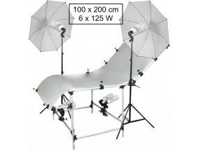 Fotostôl 100x200cm + set žiaroviek 6x125W