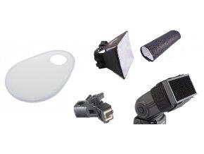 Sada 5v1 pre externý blesk: držiak, difúzor objektívu, voštinový difúzor, softbox, reflektor