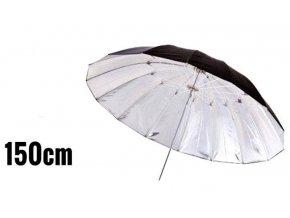 Dáždnik strieborno-čierny 150cm, sklolaminát