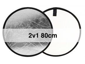Skladacia odrazová doska strieborná / biela 80cm okrúhla