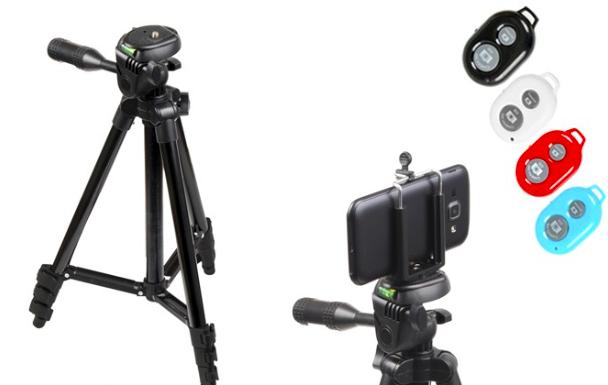 Kamerový statív + držiak na mobil + bluethooth ovládanie