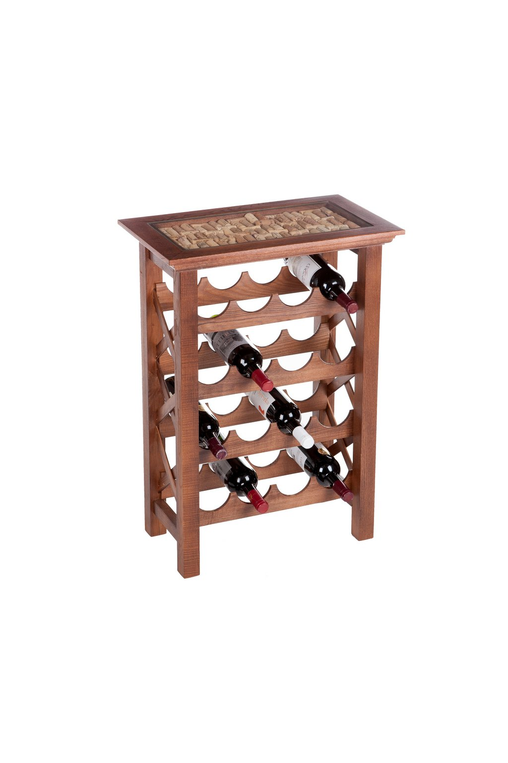 dřevěný stolek na víno korkový špunty