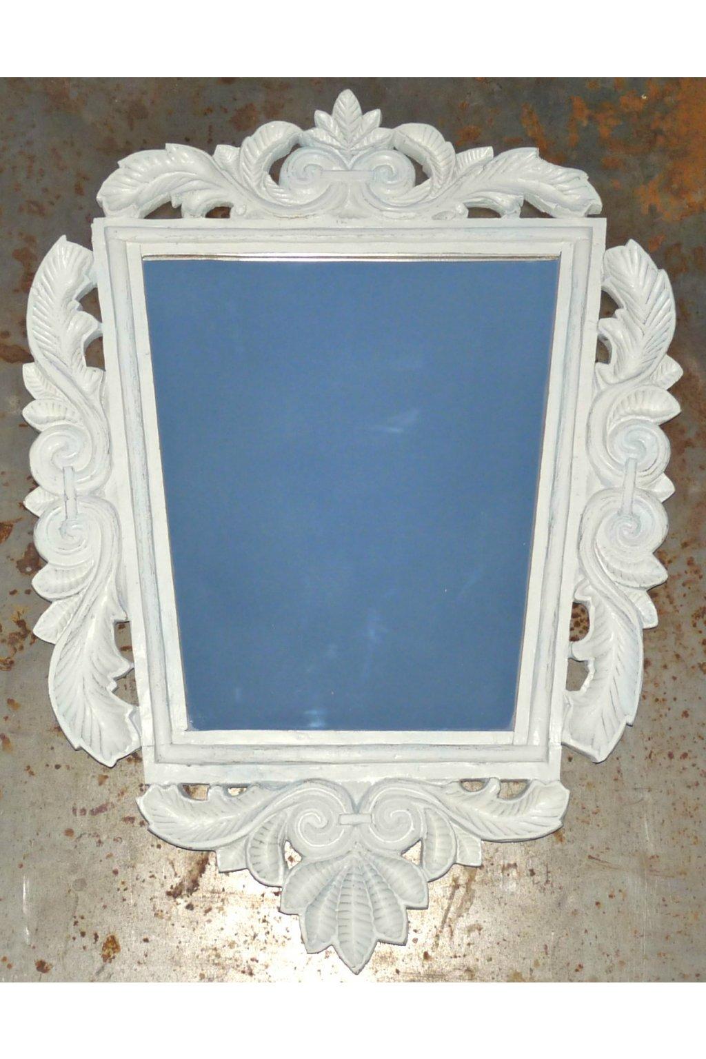 zrcadlo. bílý dřevěný rám zrcadlo