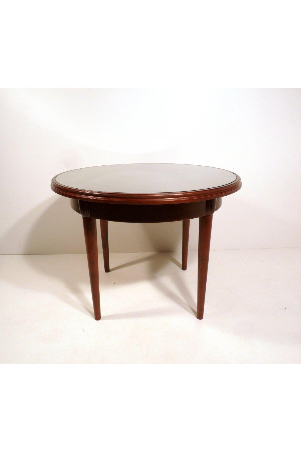 kulatý stolek se sklem