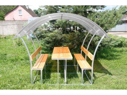 zahradní zastřešená lavička LANITPLAST ALTA 2 / čirý PC 8 mm