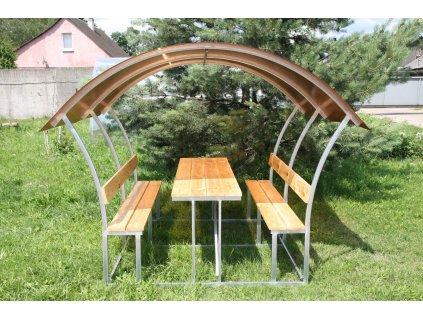 zahradní zastřešená lavička LANITPLAST ALTA 2 / bronz PC 8 mm