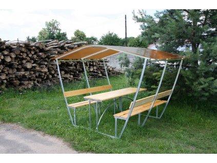 zahradní zastřešená lavička LANITPLAST TIRUP 2 / bronz PC 8 mm