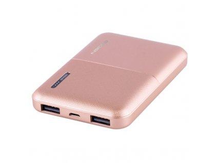 Powerbank GoGEN 5000 mAh, metalická - růžová