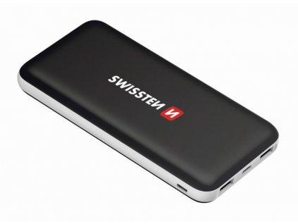 Powerbank Swissten Black Core Slim 10000mAH - USB-C - černá