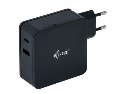 Napájecí adaptér i-tec 60W, USB-C, 1, 8m, + USB-A 12W