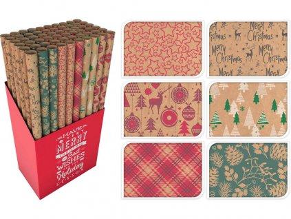 Papír vánoční balicí 0,7x 2m BÉŽ mix dekorů