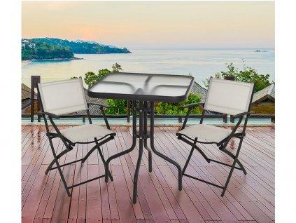 Set zahradní stůl kov/sklo + 2 židle rozkl.kov/textil ANTR/BÍ