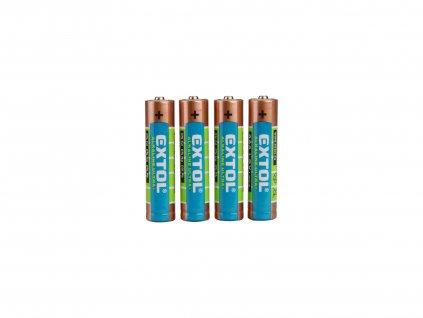 EXTOL ENERGY 42010 baterie alkalické, 4ks, 1,5V AAA (LR03)