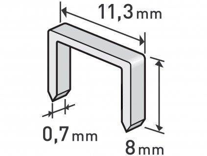 EXTOL PREMIUM 8852502 spony, balení 1000ks, 8mm, 11,3x0,52x0,70mm