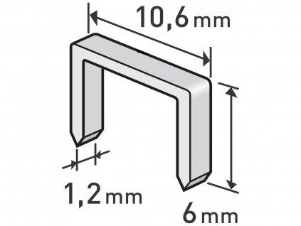 EXTOL PREMIUM 8852201 spony, balení 1000ks, 6mm, 10,6x0,52x1,2mm