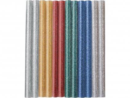 EXTOL CRAFT 9910 tyčinky tavné, mix barev se třpytem (glitter), pr.7,2x100mm, 12ks